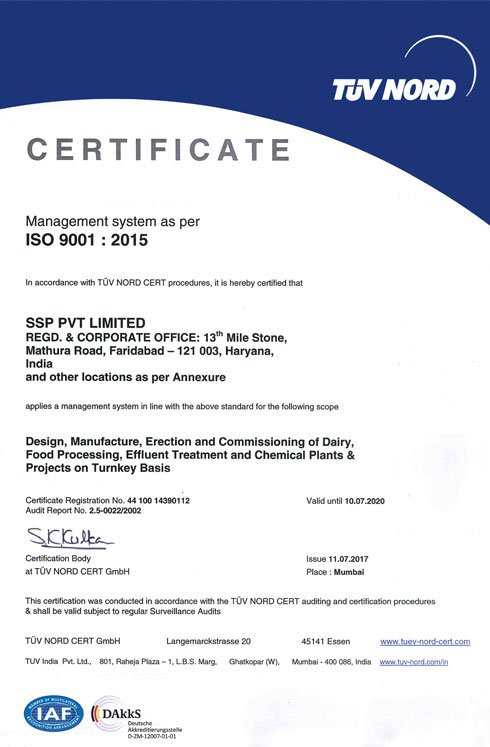 SSP is an ISO 9001:2015 Certified Company